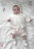 King Cole Baby 4ply Knitting Pattern - 4688 Matinee Coat, Cardigan, Bonnet & Bootees